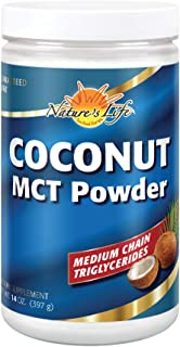 Nature's Life Coconut MCT Powder 10g | Energy & Metabolism Support for a Healthy Weight | Keto Friendly | 14oz, 40 Serv.