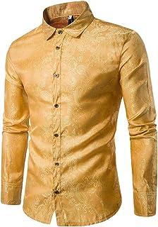 U/A Camisas de Vestir Elegantes para Hombre Jacquard Camisetas Manga Larga Camisas Estampadas con Botones
