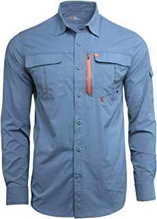 Men's Long-Sleeve Fishing Shirt Blackfoot River, Moisture-Wicking Button-Up Clothes/Apparel