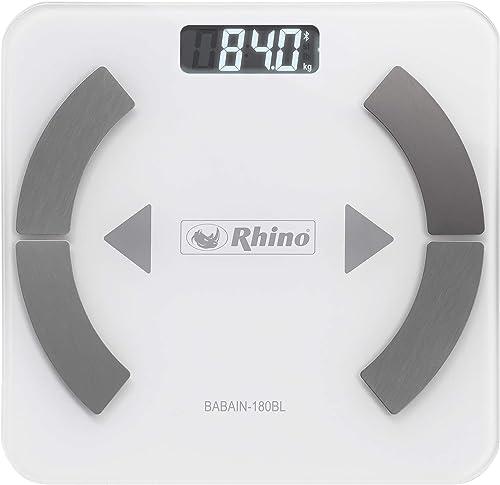 Rhino BABAIN-180 BL Bascula digital con bluetooth para el análisis de grasa corporal, 9 datos analizados, 24 usuarios...