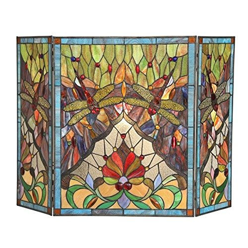 %55 OFF! Stained Glass Victorian Tiffany Style Fireplace Screen