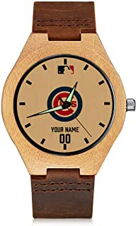 VF Personalized MLB Baseball Fans Gift Custom Personalized Wooden Watches with Leather Band Free Engraved Bamboo Watch