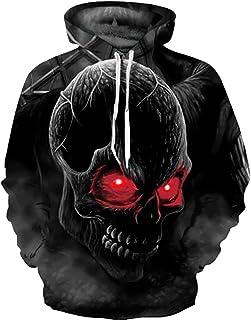 Hombre Unisex 3D Impreso Arte Suéter Sudadera con Capucha de Mangas Largas con Varios Estilos(Small/Medium,Cráneo Rojo)