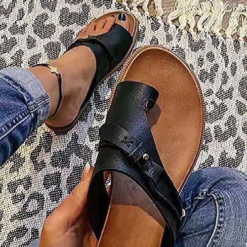 RUISTAREYE Summer Women s Orthopedic Correction leather ring toe casual Bunion slippers   toe separation flat shoes   Casual Beach Sandals Flat Heel Flip Flops (Black  9)