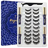 SevenCrown Magnetic Lashes with Eyeliner Kit - 10 Pairs Reusable Magnetic Eyelashes Kit with Applicator - 4 Tubes of Magnetic Eyeliner - [Upgraded] 3D Natural Looking - Long-lasting - Easy to Apply.