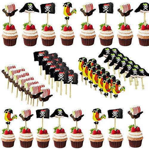 BESTZY 120PCS Pirate Kuchen Topper Cupcake Picks Deko Kuchendekoration für Baby Kinder Kindergeburtstag Party Zubehör