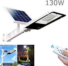 Rmckj-Q 130W Solar Powered Flood Lights 272 LED Outdoor Street Light Intelligent Light Control IP65 Waterproof with Remote Control Security Lighting for Lawn Pathway