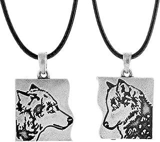 Couple Wolf Pendant Matching Necklace for Lovers Men Women Celtic Talisman Best Friends Jewelry 2pcs Pack