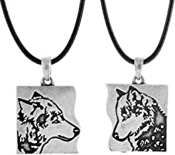 QIANJI Couple Wolf Pendant Matching Necklace for Lovers Men Women Celtic Talisman Best Friends Jewelry 2pcs Pack