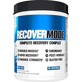 Evlution Nutrition Recover Mode- Complete Post Workout with BCAAs, Immunity Support, Vitamin C, D & E, Electrolytes, Hydration, Creatine, Glutamine, Beta-Alanine, L-Carnitine, 30 Serve, Blue Raz