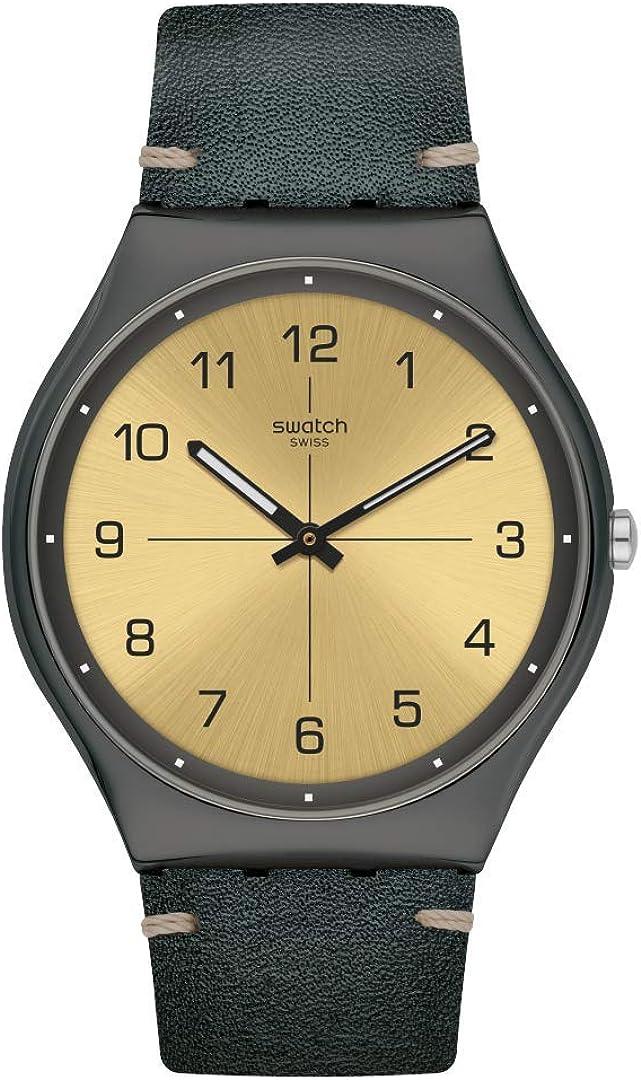 Swatch st. Steel Quartz Leather Strap 激安通販専門店 Green Casual 16 M Watch 店内限界値引き中&セルフラッピング無料