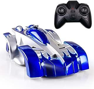 BGVANG ラジコンカー 車のおもちゃ 壁を走る おもちゃ カー 無線操作 ラジコンくるま こども向け 電動 リモ コン RCカー 室内 壁・天井・床 激走カー LED搭載 360度回転 おもちゃ 男の子 子供のおもちゃ 贈り物 (ブルー)