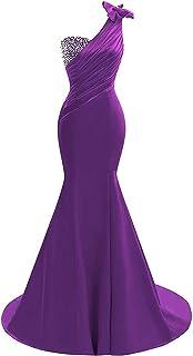 فستان ليلي لحفلات الزفاف بكتف واحد من الساتان للحفلات الراقصة لعام 2020