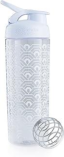 Blender Bottle Sport Mixer Sleek (825ml) Clamshell Pattern White, 28 oz
