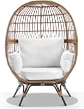 Pacific Outdoor Wicker Egg Chair with Legs, Natural Straw Tone Wicker with Cream Cushions - Egg Chairs - Bay Gallery Furni...