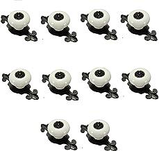 Mooi leven* 10 stuks meubelknop kastknoppen meubelknoppen set meubelgreep set retro keramische deurknop (wit met zwart)