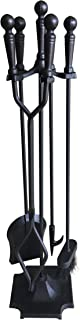 Tosnail 5 Pieces Wrought Iron Fireplace Tools Set - Brush, Shovel, Tong, Poker and Stand Base