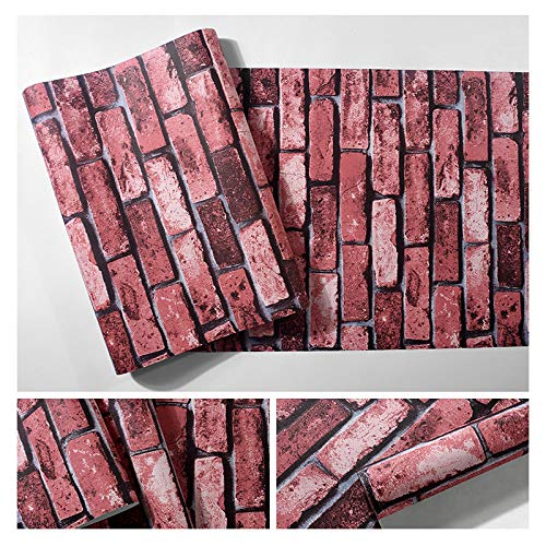 libby-nice Retro 3D dreidimensionale Ziegelimitation Backsteinmuster Backsteintapete, PVC wasserdichte Tapete, Tapete verlängert Ziegeldruck Aufkleber, Peeling Klebetapete auftragen
