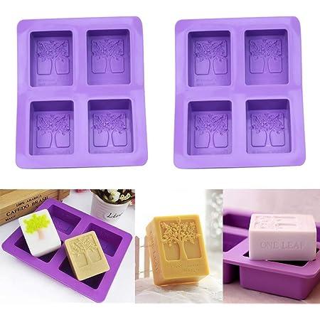 biscuits gla/çons faits main p/âtisserie chocolat bleu Lot de 2 moules /à savon en silicone 6 cavit/és rectangulaires DIY Moule en silicone pour g/âteaux