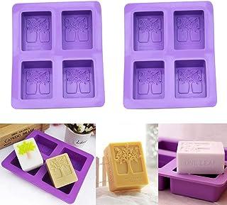 2 pièces 4 forme d'arbre de cavité Moules à savon à la main Moule en silicone rectangulaire pour la cuisson de gâteaux à g...