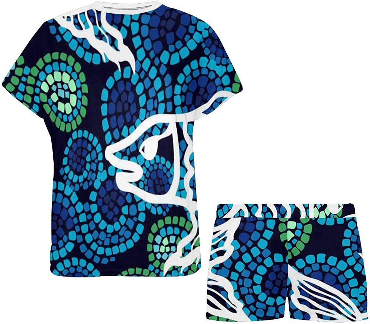 INTERESTPRINT Fishes and Corals Women's Breathable 2 Piece Shorts Pajama Sleepwear Set