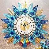 FTFTO Equipo de Vida Reloj de Pared Reloj de Cuarzo Pavo Real Creativo Decoración artística para el hogar Reloj silencioso Adecuado para Sala de Estar Dormitorio B