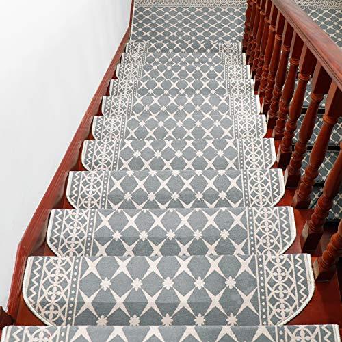 Liveinu Moderner Stil Selbstklebend Stufenmatten Treppen Teppich Halbrund Waschbar Starke Befestigung Anthrazit Treppen-Matten 24x65cm (15 Stück) Grau