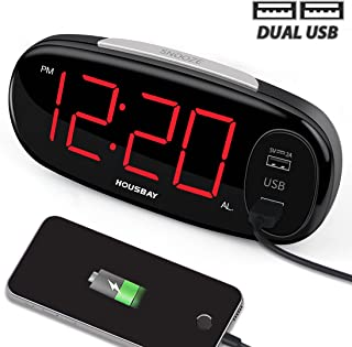 HOUSBAY Digital Alarm Clock with Dual USB Charger, No Frills Simple Settings, Easy Snooze, 6.5