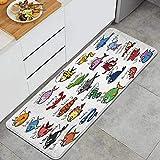 DYCBNESS alfombras de Cocina Antideslizantes Lavables,Niños Acuario Dibujos Animados Pulpo delfín tiburón Ballena Payaso pez Medusa Cangrejo ermitaño Marino,45x120cm