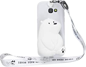 OUYAWEI Portable For For Samsung A3 2017 A7 2017 Cartoon Full Protective Fall Resistant Shockproof TPU Mobile Phone Cover with Mini Coin Purse+Cartoon Hanging Lanyard 6 white big bear Samsung A3 2017