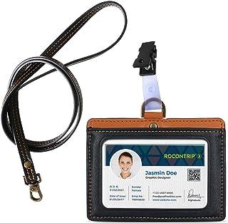 """porte-badge lanière Badge d'identification en cuir porte-badge double face en Porte-badges horizontal,Badge 3""""*4"""" (noir ma..."""