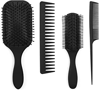 4 Pieces Anti Static Hair Brushes, Women and Men's Detangling Brush and Hair Comb Set for Straight Long Thick Curly Natural Hair and Wet or Dry Hair, Perfect Gift for Family Friends Colleague (Black)