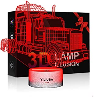 Car Truck 3D Lights LED Lamps for Kids Monster Truck Toys for Boys Baby Bedroom Sleep Night Light Illusion LED 7 Color Optical Changing Desk Lamp Christmas Birthday Gift for Kids with