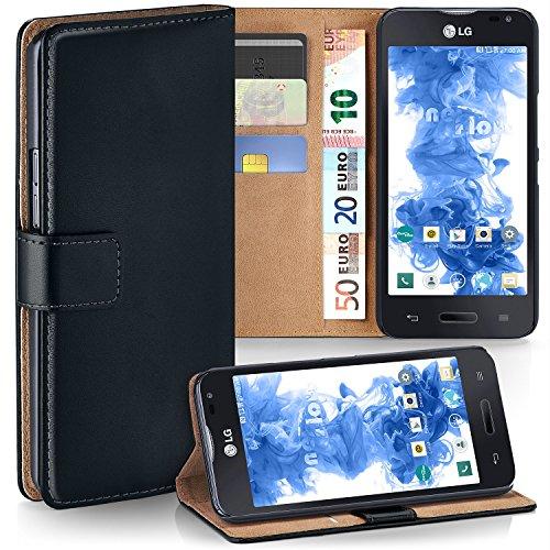 MoEx® Booklet mit Flip Funktion [360 Grad Voll-Schutz] für LG L90 | Geldfach & Kartenfach + Stand-Funktion & Magnet-Verschluss, Schwarz