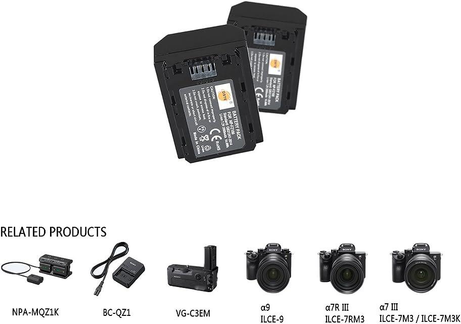 DSTE 2PCS 7.2V 2000mAh NP-FZ100 FZ100 Recargable Digital Batería Compatible con Sony A7R3 A7R III α7R III α7R3 Alpha 9 Alpha 9R Alpha a9R Alpha a9S Alpha 9S cámara as A7RM3