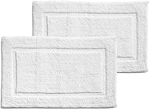 mDesign Soft 100% Cotton Luxury Hotel-Style Rectangular Spa Mat Rug Plush Water Absorbent Decorative Border - for Bathroom...