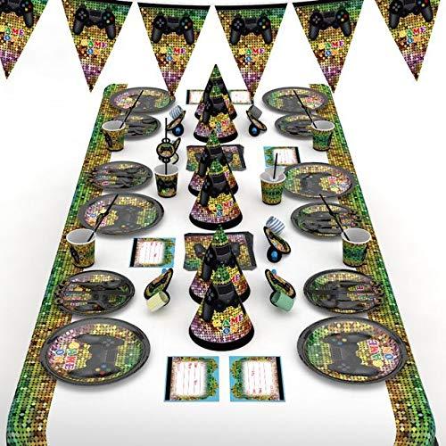 Boyigog Spiel Party Set, 72 PCS Thema Party Spiel Geschirr Set, Spiel Party Deko Jungs Geburtstag Party Favors gehören Teller Tassen Servietten Besteck Banner Tischdecke Hut & Krachmacher