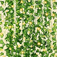 12-Pack Cqure 84Ft Artificial Ivy Garland with 100 LEDs String Lights