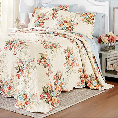 NC HOME FASHIONS Wake in Flower Floral Pattern Print Bedspread, King, Multicolor