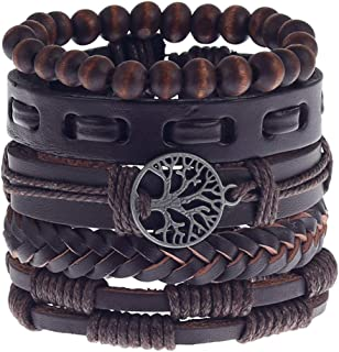 MNCD Mix 5 Wrap Bracelets Men Women,Hemp Cords Wood Beads Ethnic Tribal Bracelets, Leather Wristbands(Tree of Life)