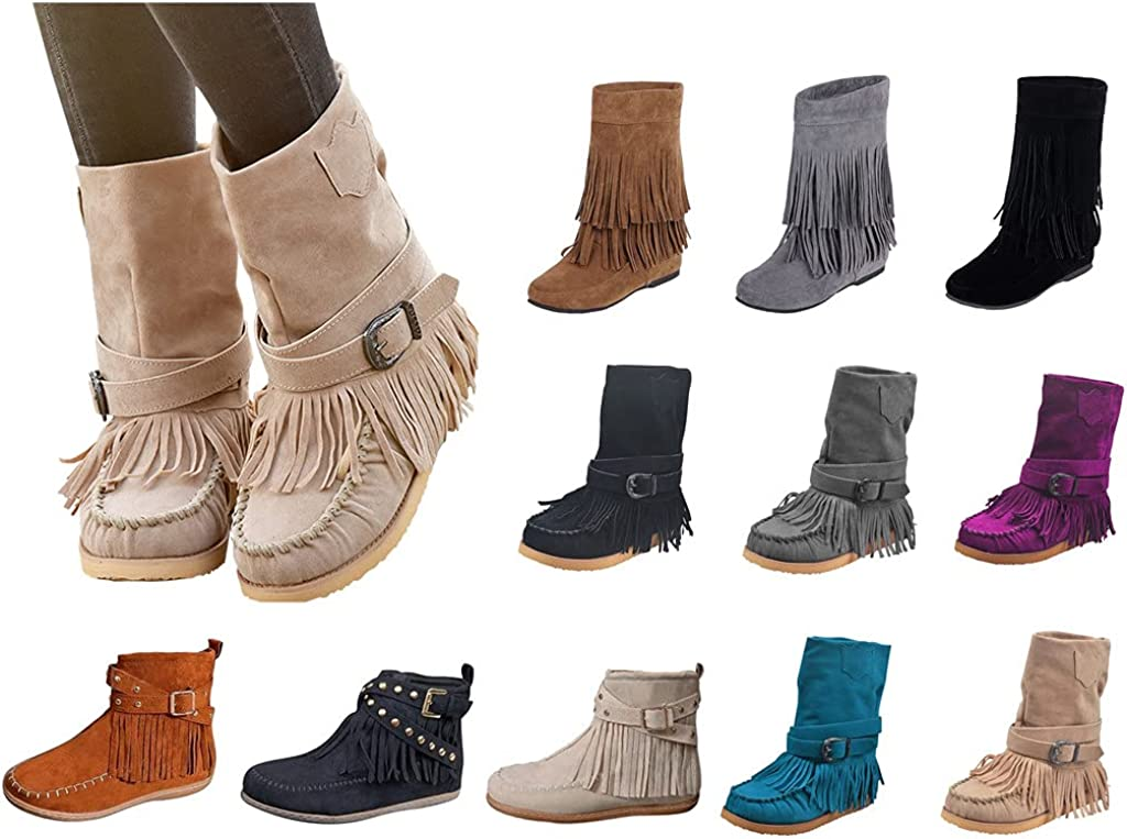 Fringed Boots For Womens Suede Boots Western Boot Buckle Zipper Tassel Flat Heel Mid-Calf Booties