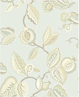 York Wallcoverings Waverly Classics Fantasy Fleur Removable Wallpaper, Pale Aqua/Teal/Cocoa/Taupe/Eggshell/Beige/Buff/Willow Green