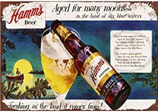NNGT Poster Vintage Wine Signs Craft Art Painting Home Bar Plaques - Hamm's Beer Metal Tin Sign 20X30 CM