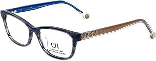 Carolina Herrera Designer Eyeglasses VHE725K-OWTC in Blue-Horn 50mm DEMO LENS