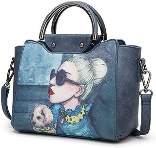 Fine Bag/Women's Handbag Fashion Print Shoulder Bag Simple Wild Crossbody Bagg Large Capacity Ladies Bag Party Dating (Color : Dark Blue, Size : 25 * 12 * 21cm)