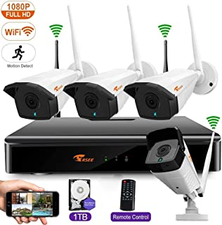 CORSEE Wireless Security Camera System, 8CH 1080P HD NVR with 4pcs 1080P WiFi Surveillance Camera, 100ft Night Vision, Built-in Microphone, Motion Detector, Live Remote View, 1TB HDD