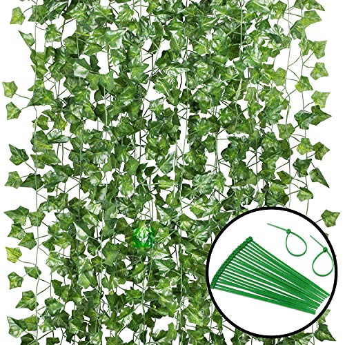 GPARK 12 Pack/ Each 82 inch, Artificial Ivy Garland Fake Leaf Plants Vine , Flowers Hanging For Wedding Party Home Garden Kitchen Office Outdoor Greenery Wall Decor Green
