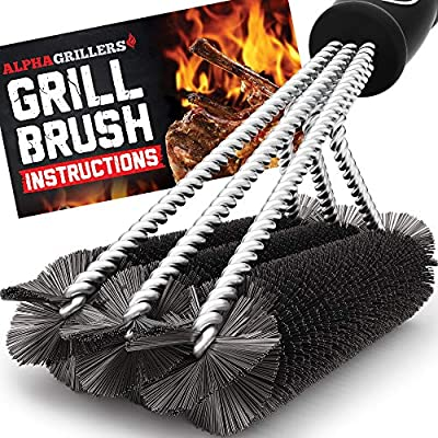 """Alpha Grillers 18"""" Grill Brush. Best BBQ Cleaner. Safe for All Grills. Durable & Effective. Stainless Steel Wire Bristles and Stiff Handle. A for Barbecue Lovers."""