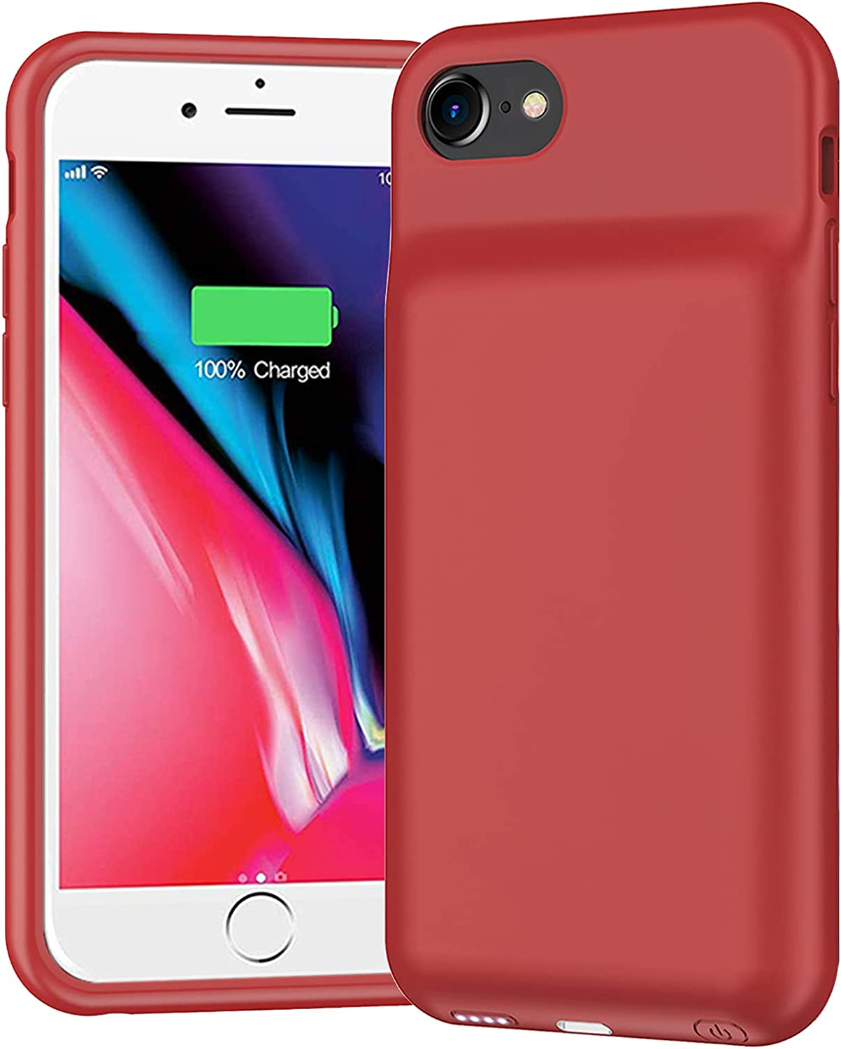 Battery Case for iPhone 7/8/6/6s/SE 2020, 6500mAh Portable Protective Charging Case Compatible with iPhone SE 2020/8/7/6/6s (4.7 inch) Extended Battery Charger Case (Red)