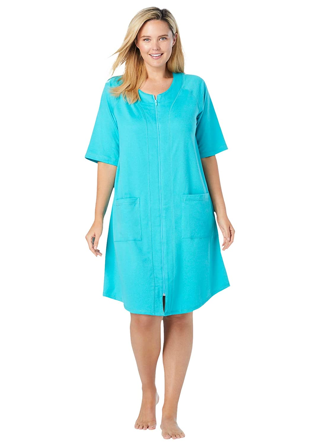 Womens Plus Size Short French Terry Zip-Front Robe Dreams /& Co